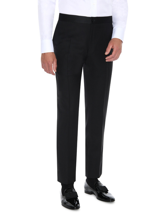 Canali Black wool tuxedo with silk peak lapels-2_4