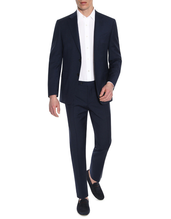 Canali Navy wool suit with micro-check motif-2_4