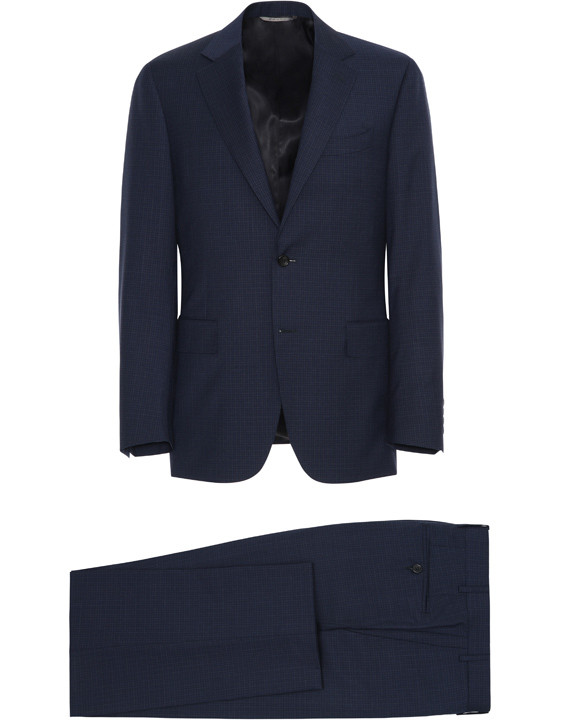 Canali Navy wool suit with micro-check motif-2_0