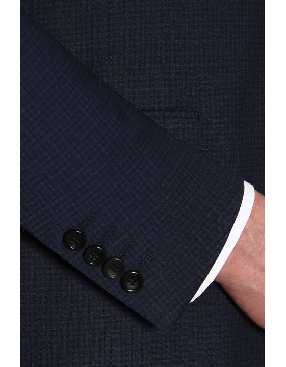 Canali Navy wool suit with micro-check motif-2_1
