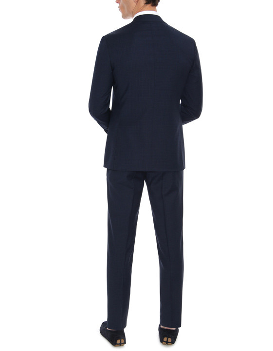 Canali Navy wool suit with micro-check motif-2_2