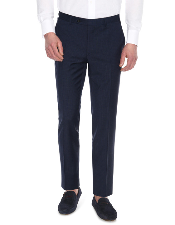 Canali Navy wool suit with microndcheck motif-2_4