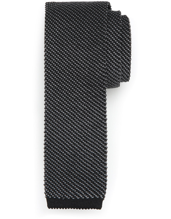 Canali Black silk knitted tie-2_0