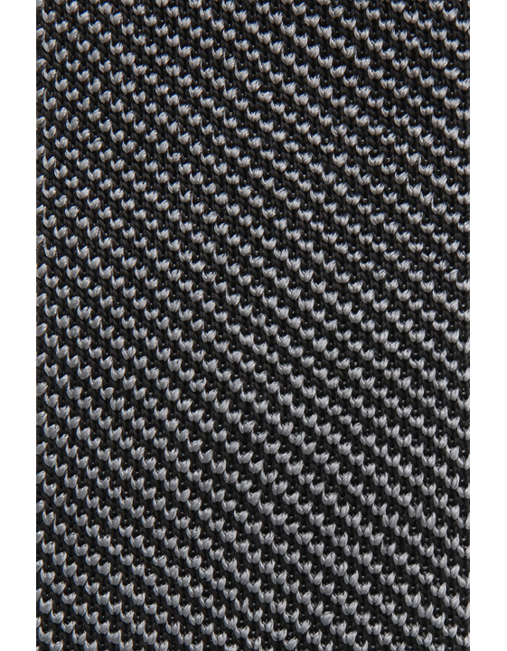 Canali Black silk knitted tie-2_1