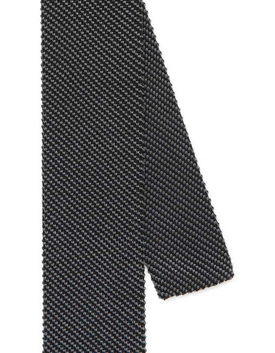 Canali Black silk knitted tie-2_2