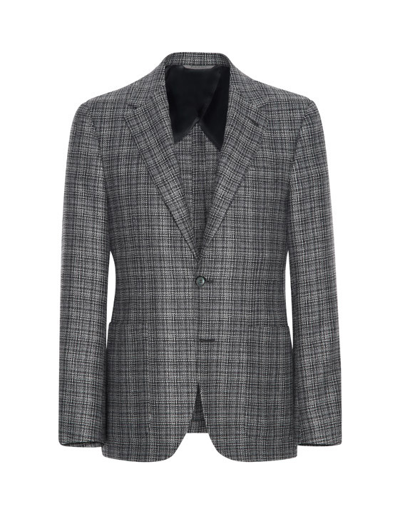 Canali Dark blue Ultra Light blazer in textured silk-wool blend-2_0