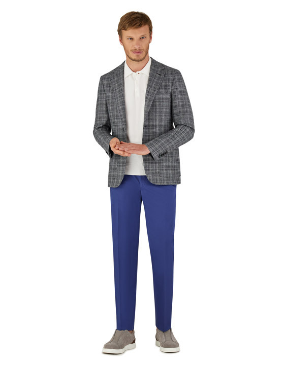 Canali Dark blue Ultra Light blazer in textured silk-wool blend-2_1