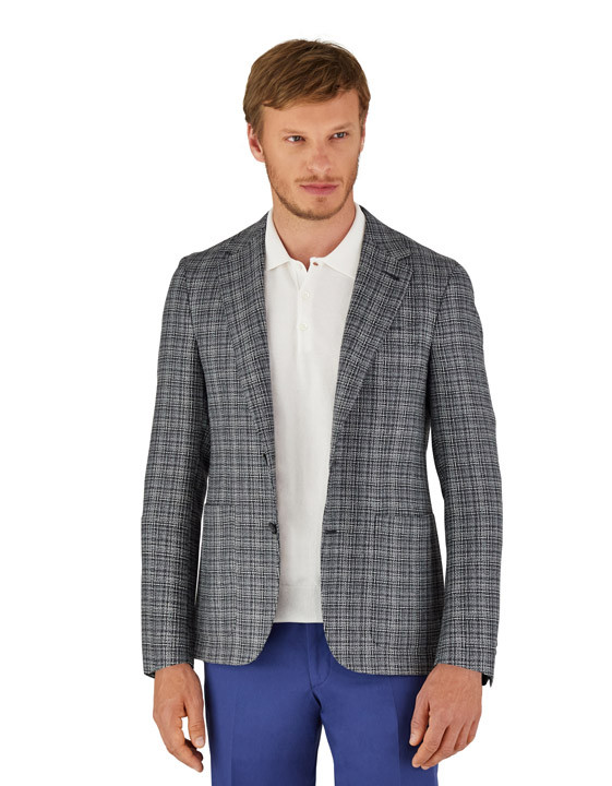 Canali Dark blue Ultra Light blazer in textured silk-wool blend-2_2