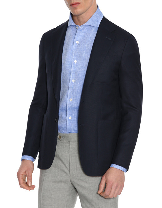 Canali Dark blue ultra-light blazer in pure wool-2_0
