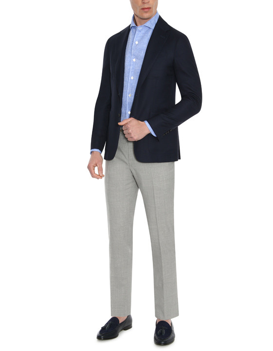 Canali Dark blue ultra-light blazer in pure wool-2_4