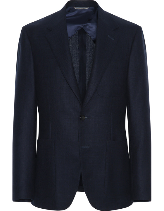 Canali Navy blue pure wool ultra light blazer-2_0