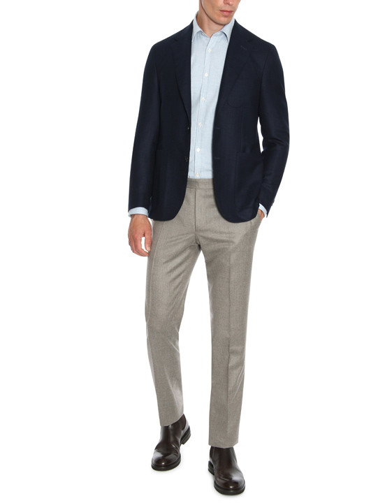 Canali Navy blue pure wool ultra light blazer-2_1