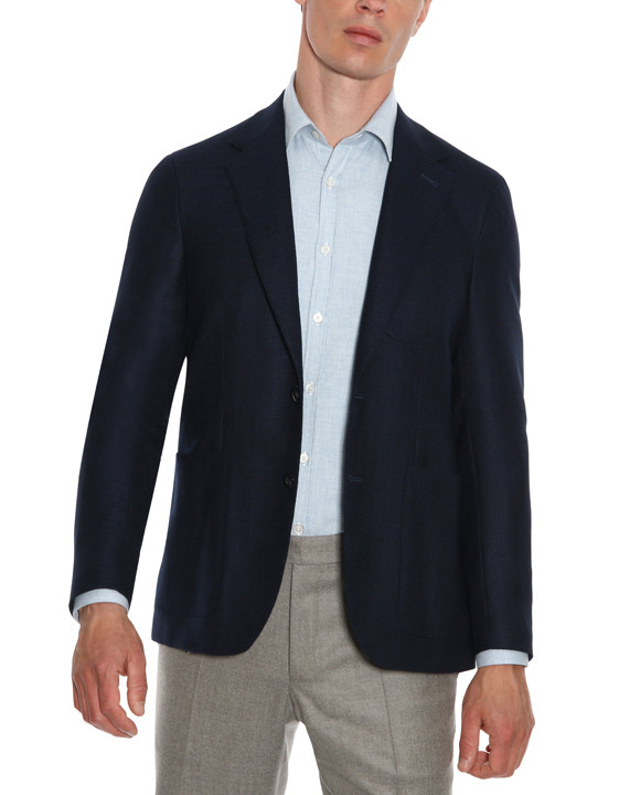 Canali Navy blue pure wool ultra light blazer-2_2