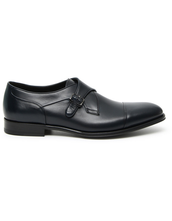 Canali Blue calfskin leather monk straps-2_0