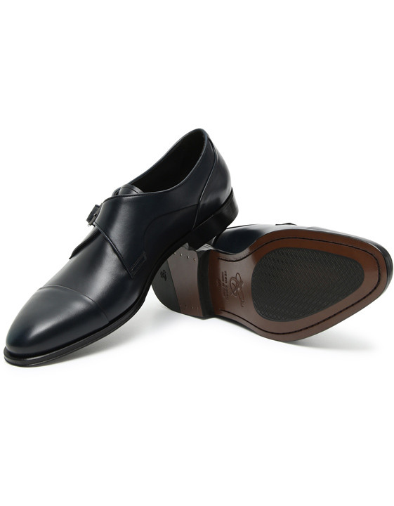 Canali Blue calfskin leather monk straps-2_1