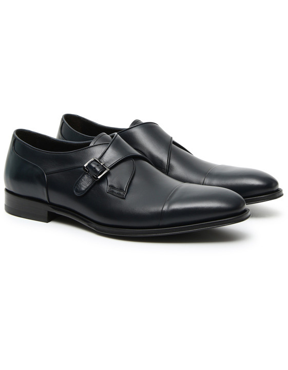 Canali Blue calfskin leather monk straps-2_2