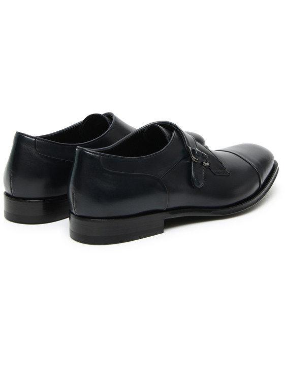 Canali Blue calfskin leather monk straps-2_3