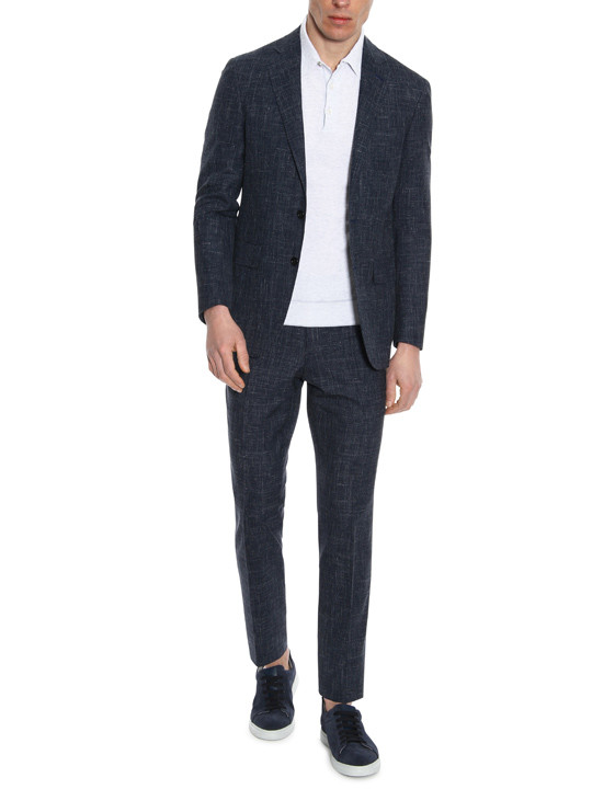 Canali Blue Kei suit in woolndsilkndlinen blend-2_0