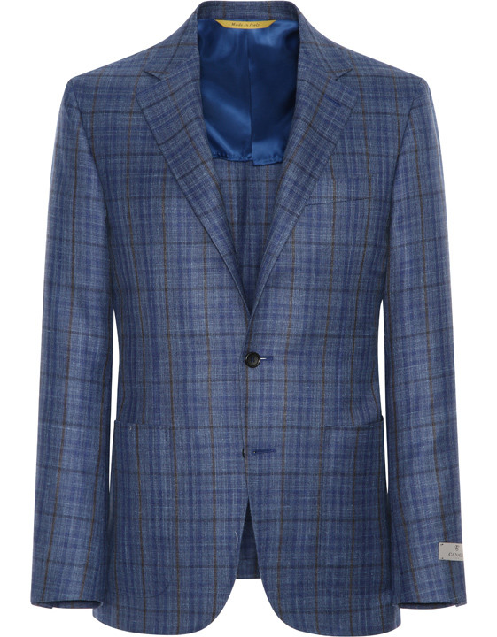 Canali Checked wool, silk and linen Kei jacket blue-2_0
