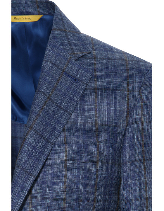 Canali Checked wool, silk and linen Kei jacket blue-2_1