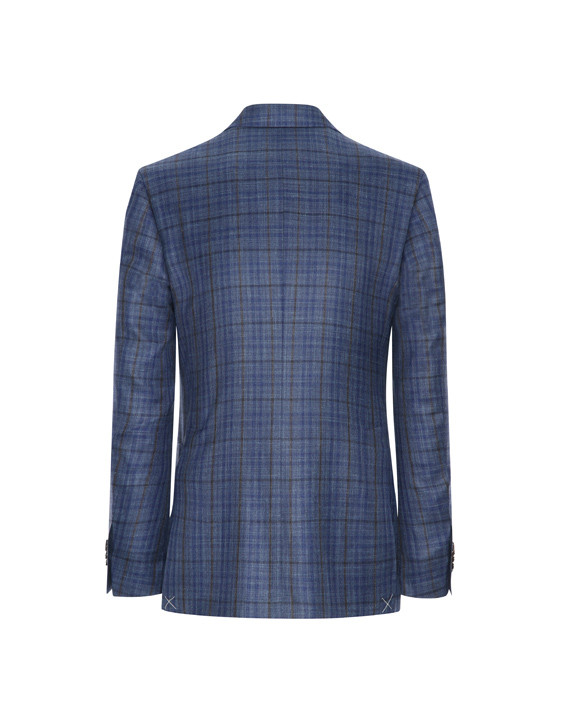 Canali Checked wool, silk and linen Kei jacket blue-2_2