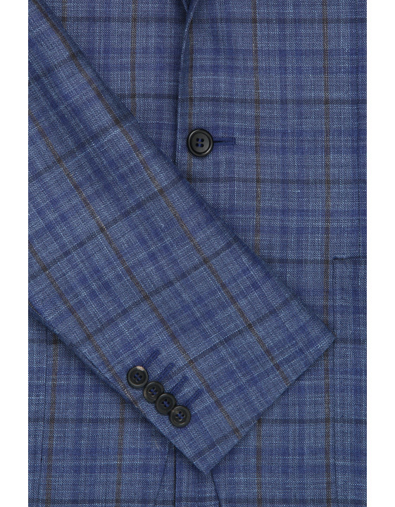 Canali Checked wool, silk and linen Kei jacket blue-2_3