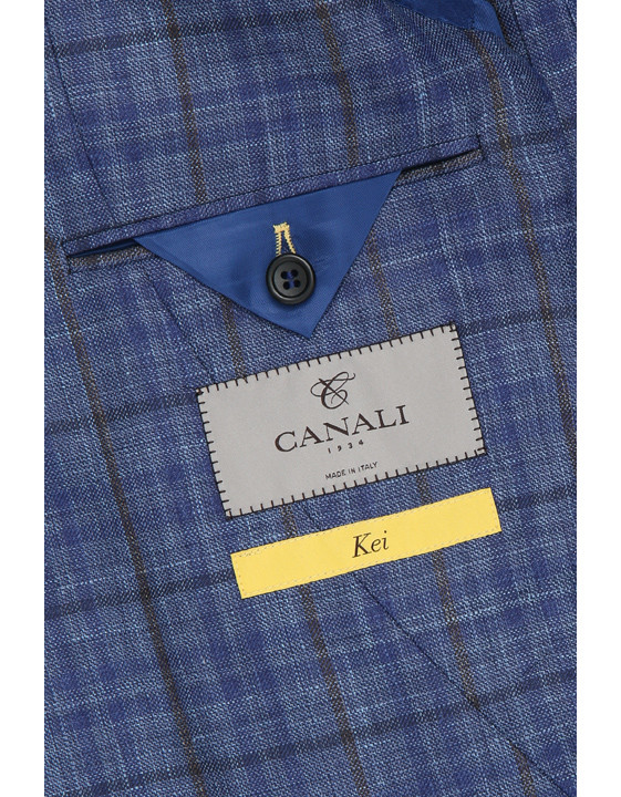 Canali Checked wool, silk and linen Kei jacket blue-2_4