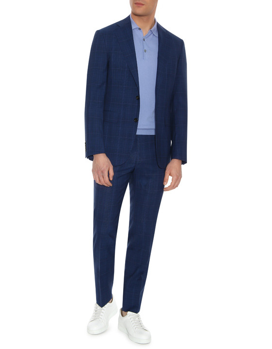 Canali Dark blue Prince of Wales suit in Impeccabile wool-2_0