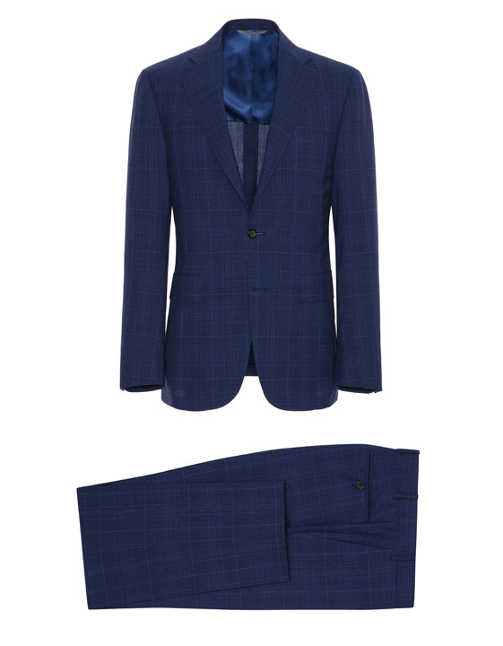Canali Dark blue Prince of Wales suit in Impeccabile wool-2_1