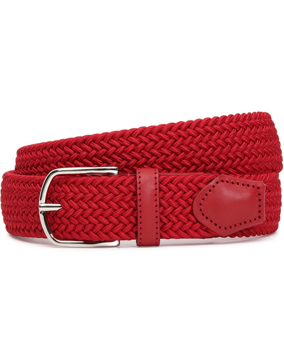 Canali Red woven belt in technical fabric-2_0
