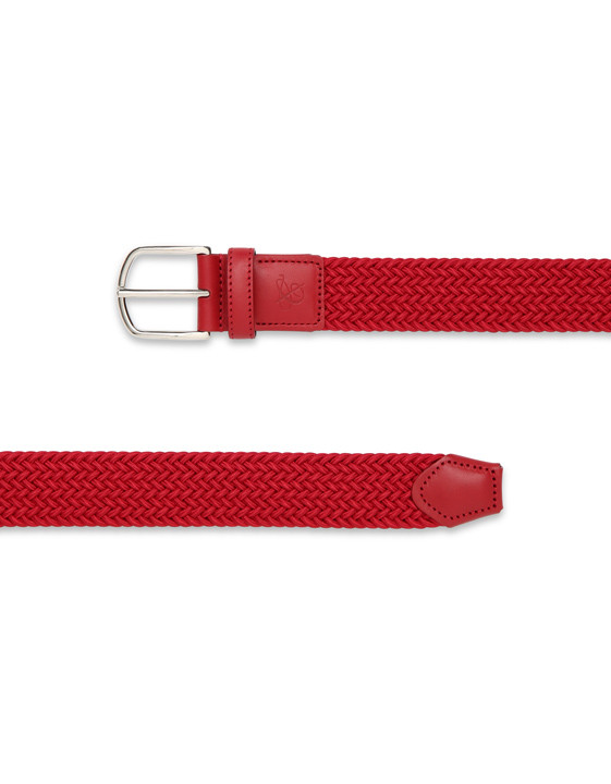 Canali Red woven belt in technical fabric-2_1