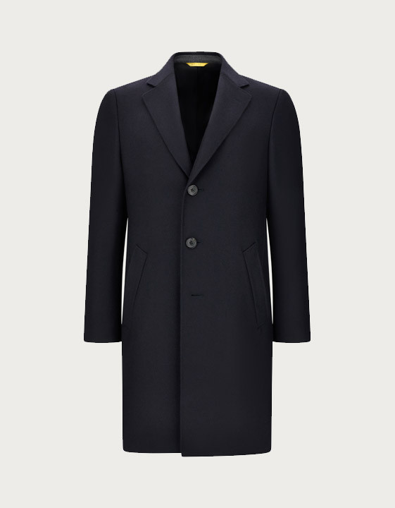 Canali Dark blue water-resistant pure wool Kei overcoat with diagonal texture-2_1