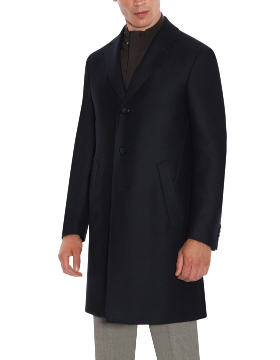 Canali Dark blue water-resistant pure wool Kei overcoat with diagonal texture-2_2