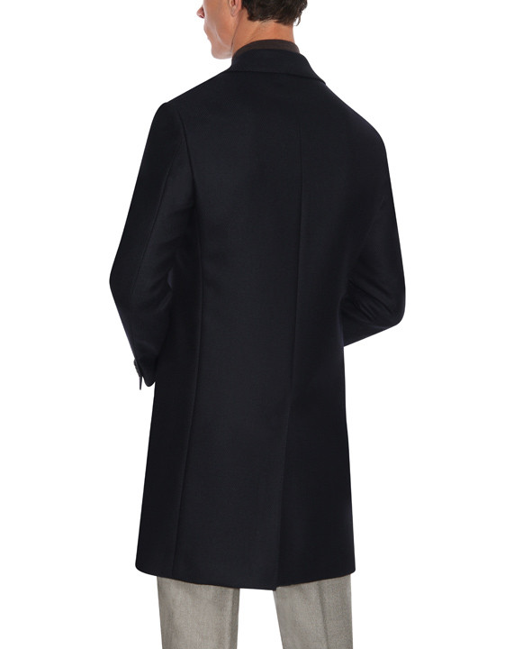 Canali Dark blue water-resistant pure wool Kei overcoat with diagonal texture-2_3