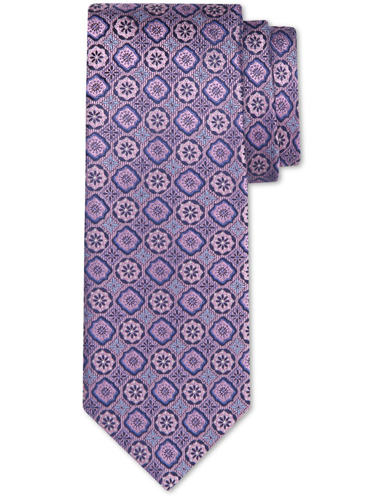 Canali Silk tie with medallion motif purple-2_0