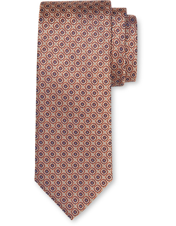 Canali Red silk tie with medallion motif-2_0