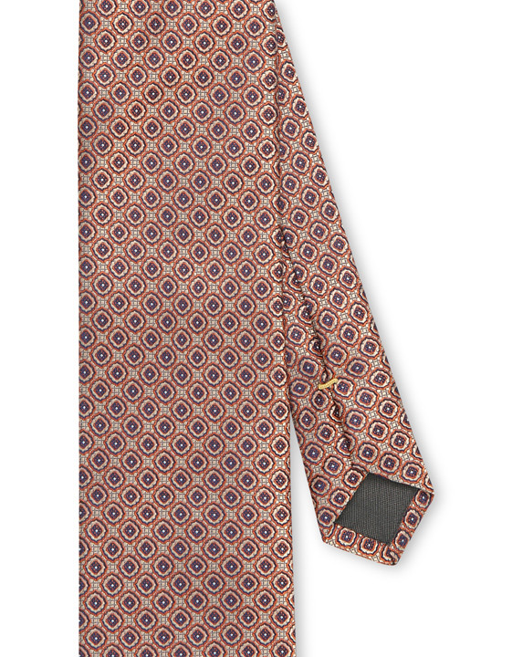 Canali Red silk tie with medallion motif-2_2