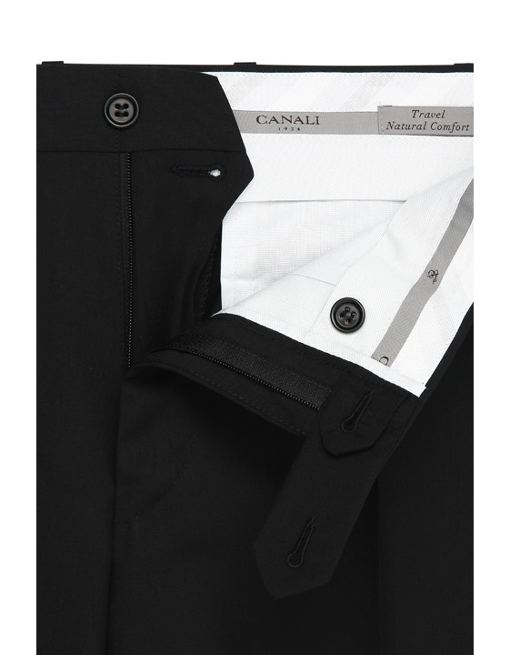 Canali Black pure wool dress pants-2_4