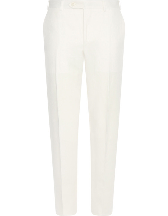 Canali White dress pants in linen-silk blend-2_0