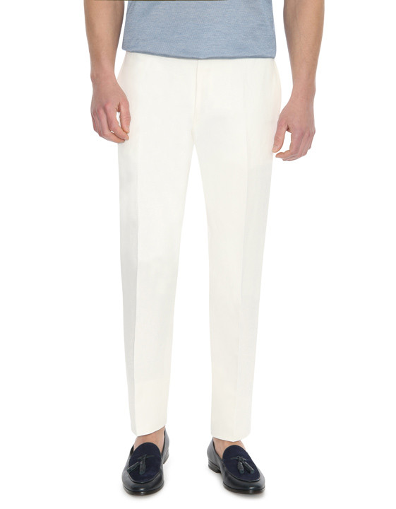 Canali White dress pants in linen-silk blend-2_1
