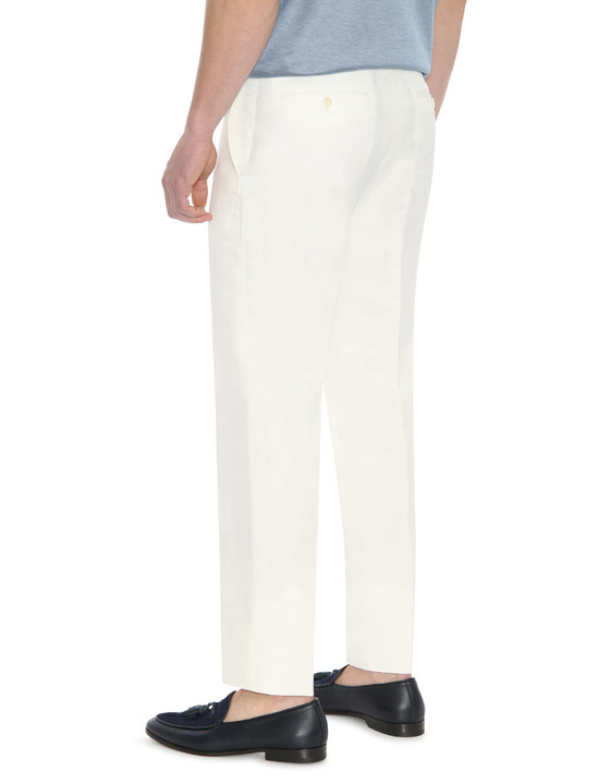 Canali White linen-silk blend dress pants-2_2