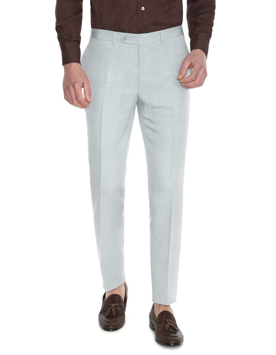 Canali Light gray dress pants in linen-silk blend-2_1