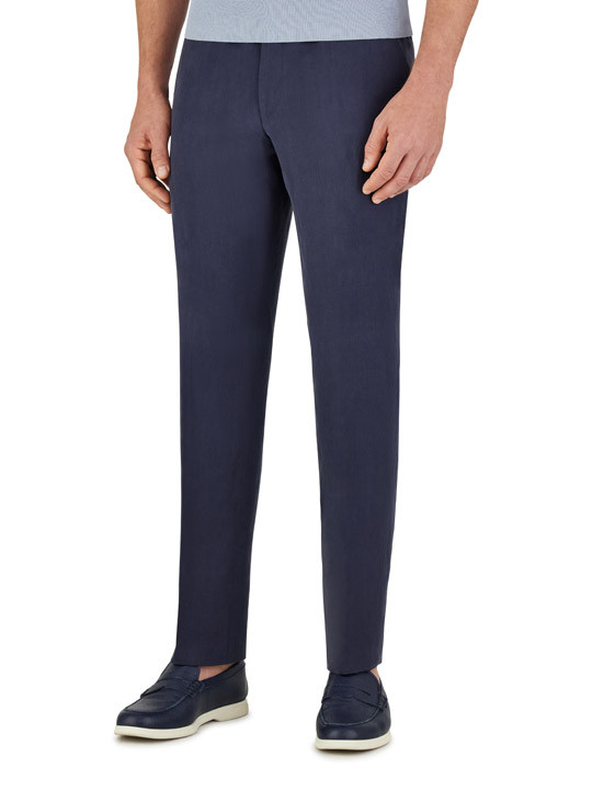 Canali Dark blue linen-silk dress pants-2_1