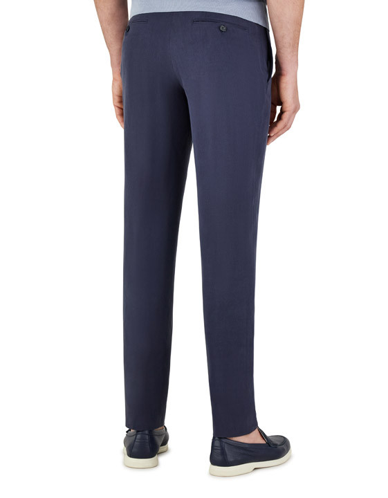 Canali Dark blue linen-silk dress pants-2_2
