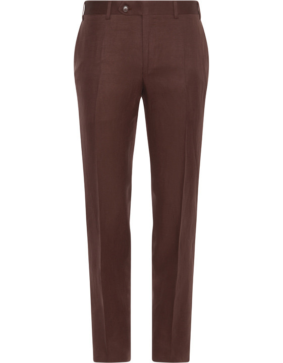 Canali Brown linen-silk flat front dress pants-2_0