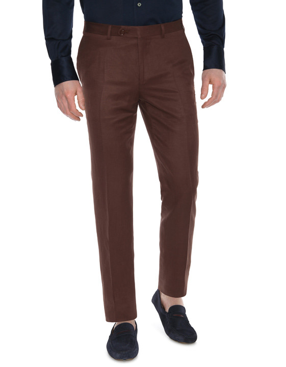 Canali Brown linen-silk flat front dress pants-2_1