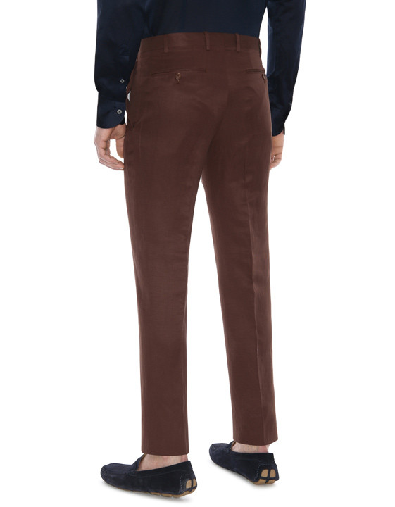 Canali Brown linen-silk flat front dress pants-2_2