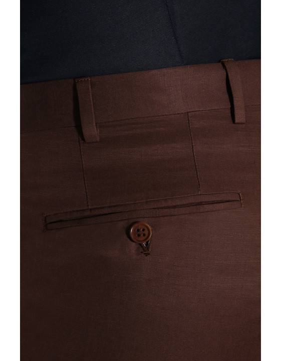 Canali Brown linen-silk flat front dress pants-2_3