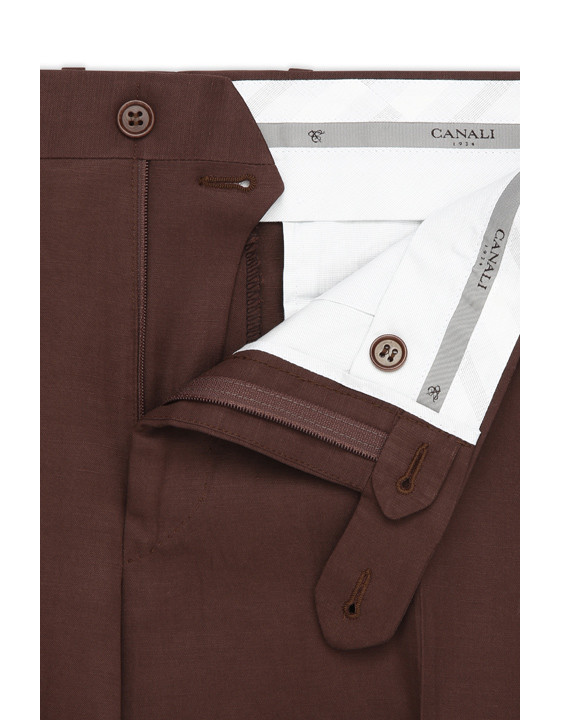 Canali Brown linen-silk flat front dress pants-2_4
