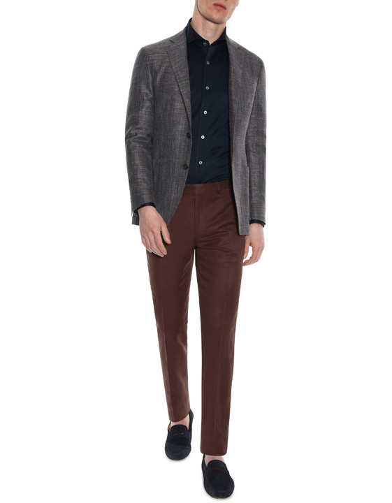 Canali Brown linen-silk flat front dress pants-2_5